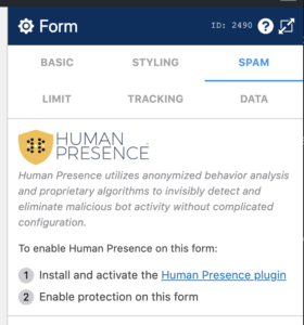 WS Form integrates directly with Human Presence